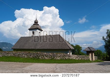Church Of St. Catherine, Zasip, Slovenia, Europe. Typical Small Historic Ancient Country Mountain Sa