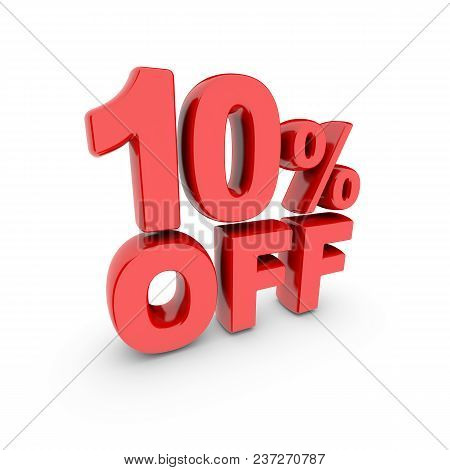 10 Percent Off Promotion. Discount Sign. Red Text Is Isolated On White. 3d Render