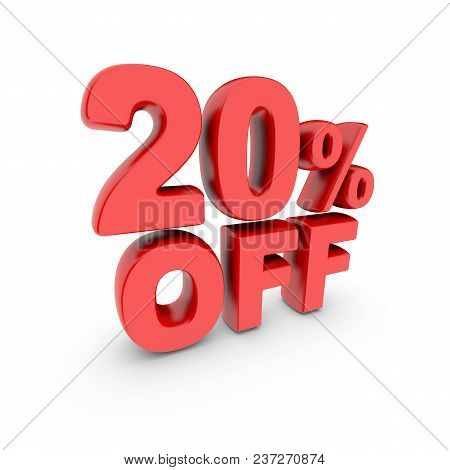 20 Percent Off Promotion. Discount Sign. Red Text Is Isolated On White. 3d Render