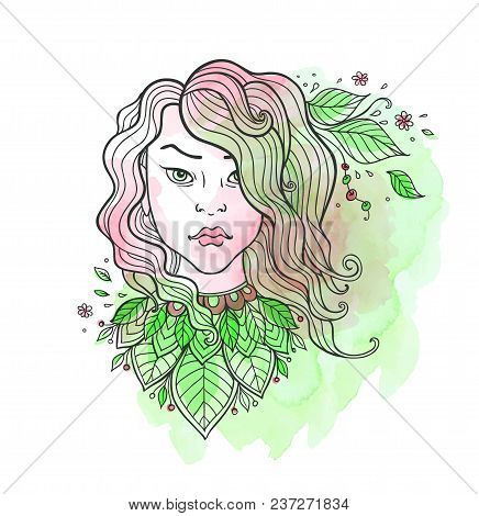Hand Drawn Vector Girl With Long Hair And Leaves On A Green Watercolor Background.