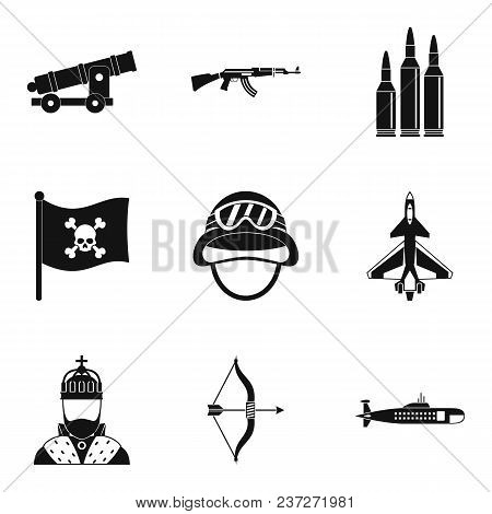 Type Of Weapon Icons Set. Simple Set Of 9 Type Of Weapon Vector Icons For Web Isolated On White Back