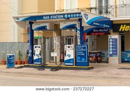 Zakynthos, Greece - September 29, 2017: Typical Gas Station In Zante Town On Zakynthos Island. Greec
