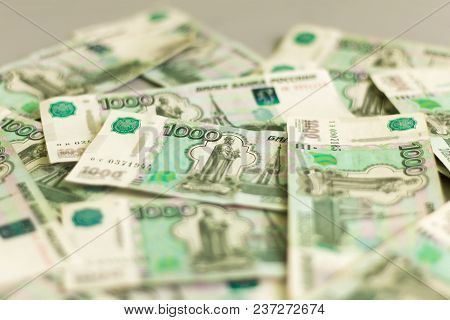 Money, Russian Thousand Bills Lying On The Table