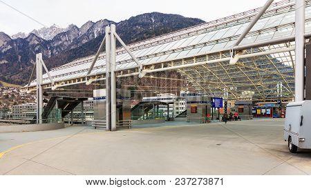 Chur, Switzerland - 3 March, 2017: Post Bus Station In Chur. Post Bus Switzerland (german: Postauto
