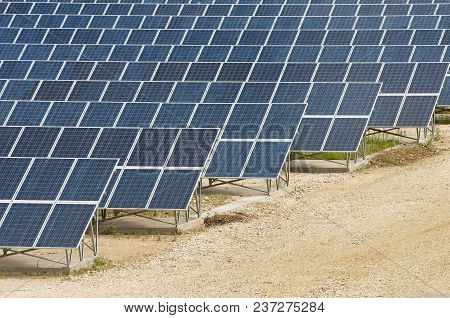 Park With Solar Panels For Electricity Production