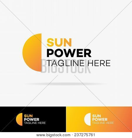 Vector Sun Power Logo Set Colorful Style On Background For Solar Firm, Eco Technology, Natural Energ