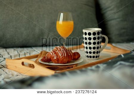 Breakfast In Bed. Coffee And Croissants White Chocolate Food. Cup Of Coffe Or Tea.