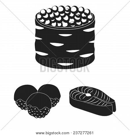 Sushi And Seasoning Black Icons In Set Collection For Design. Seafood Food, Accessory Vector Symbol