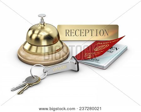 Hotel Key With Pass And Reception Bell On Reception Desk, 3d Illustartion.