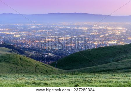 Silicon Valley Twilight. Sierra Vista Open Space Preserve, San Jose, Santa Clara County, California,