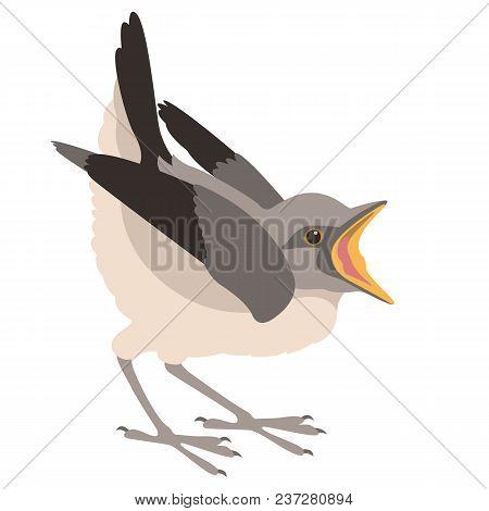 Bird Nestling Vector Illustration Flat Style Profile Side