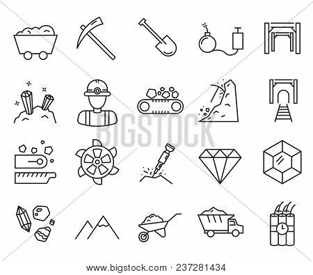 Set Of Diamond Mining Related Vector Line Icons. Includes Such Icons As Diamond, Gold, Mining, Minin