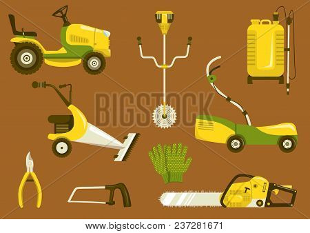 Set Of Garden Equipment For Grass Mowing. Color Vector Icons Illustration. Lawn Mower And Other Agri