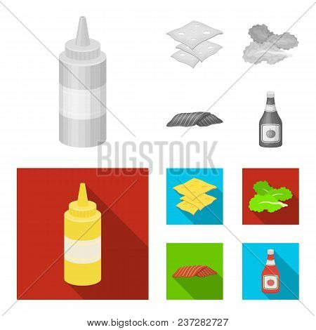 Burger And Ingredients Monochrome, Flat Icons In Set Collection For Design. Burger Cooking Vector Sy