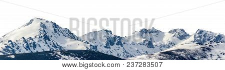 Snowy Peaks In A Mountain Range Isolated Over White Background