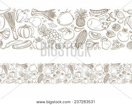 Seamless Frame Border Background Pattern Of Green Organic Fresh Tropical Fruits And Vegetables. Vect