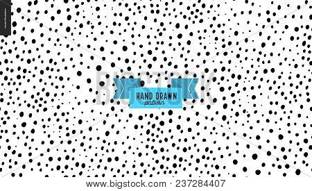 Hand Drawn Black And White Pattern. Vector Seamless Pattern. Abstract Background With Brush Dots. Mo