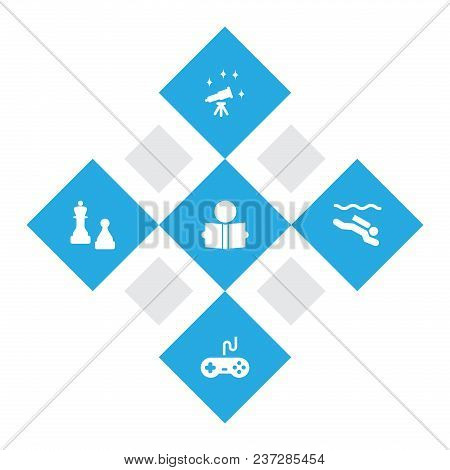Set Of 5 Hobbie Icons Set. Collection Of Chess, Diving, Reading And Other Elements.