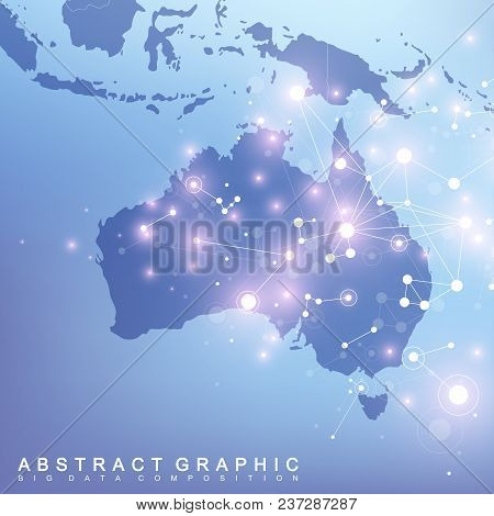 Abstract Map Of Australia Country Global Network Connection. Vector Background Technology Futuristic