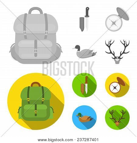 Knife With A Cover, A Duck, A Deer Horn, A Compass With A Lid.hunting Set Collection Icons In Monoch