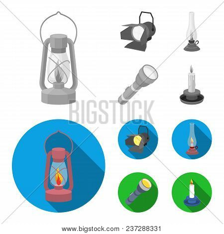 Searchlight, Kerosene Lamp, Candle, Flashlight.light Source Set Collection Icons In Monochrome, Flat