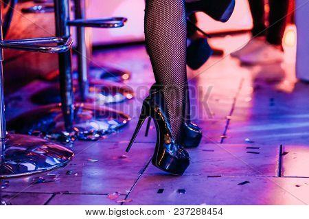 Legs Female Dancer High Heeled Shoes Bar Counter