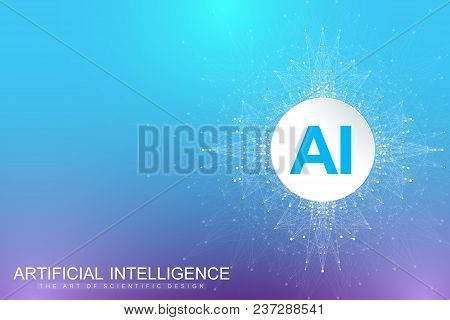 Geometric Graphic Background Artificial Intelligence. Turbulence Flow Trail. Futuristic Science And