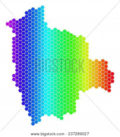 Hexagon Spectrum Bolivia Map. Vector Geographic Map In Bright Colors On A White Background. Spectrum