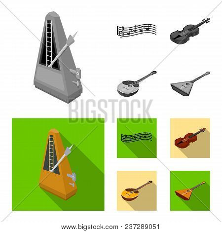 Musical Instrument Monochrome, Flat Icons In Set Collection For Design. String And Wind Instrument I