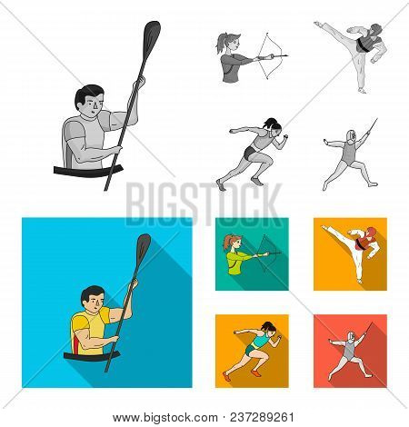 Archery, Karate, Running, Fencing. Olympic Sport Set Collection Icons In Monochrome, Flat Style Vect