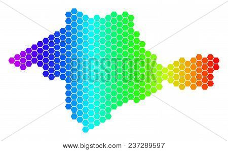 Hexagon Spectrum Crimea Map. Vector Geographic Map In Bright Colors On A White Background. Spectrum
