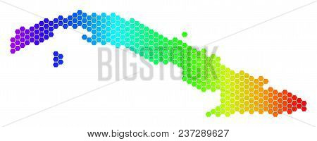 Spectrum Hexagonal Cuba Map. Vector Geographic Map In Bright Colors On A White Background. Spectrum