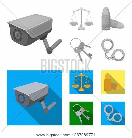 Scales Of Justice, Cartridges, A Bunch Of Keys, Handcuffs.prison Set Collection Icons In Monochrome,