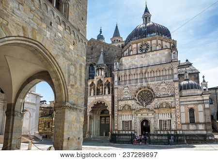 Basilica Of Santa Maria Maggiore In Citta Alta, Bergamo, Italy. Historical Architecture Of Old Town