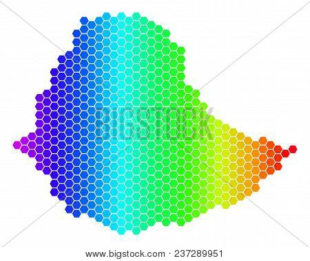 Spectrum Hexagonal Ethiopia Map. Vector Geographic Map In Bright Colors On A White Background. Spect