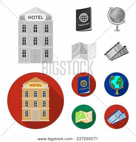 Vacation, Travel, Passport, Globe .rest And Travel Set Collection Icons In Monochrome, Flat Style Ve