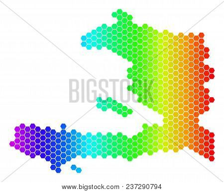 Spectrum Hexagonal Haiti Map. Vector Geographic Map In Bright Colors On A White Background. Spectrum