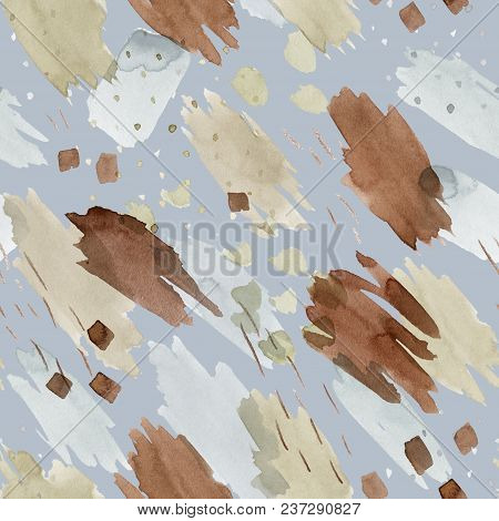 Blue Seamless Pattern Illustration With Watercolor Clay Brown, Gray And Beige Spots And Blemishes. W