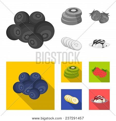 Fruits And Other Food. Food Set Collection Icons In Monochrome, Flat Style Vector Symbol Stock Illus