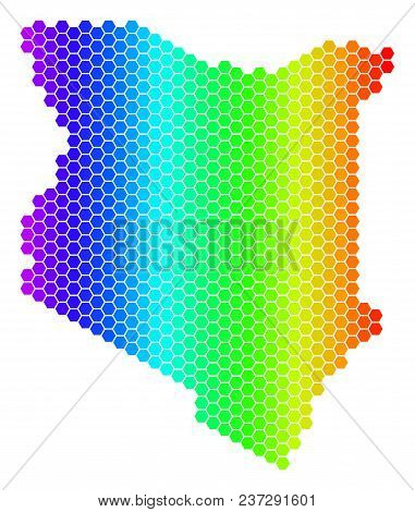 Spectrum Hexagonal Kenya Map. Vector Geographic Map In Bright Colors On A White Background. Spectrum