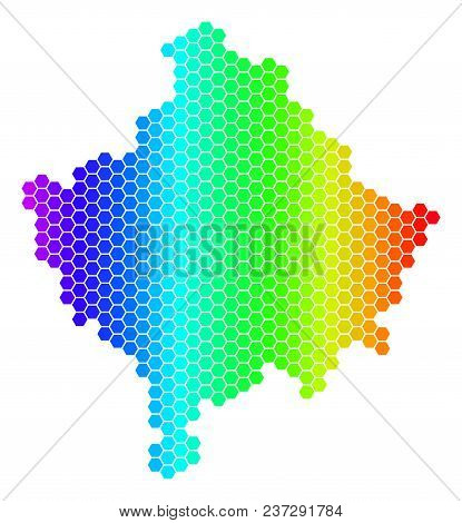 Hexagon Spectrum Kosovo Map. Vector Geographic Map In Bright Colors On A White Background. Spectrum