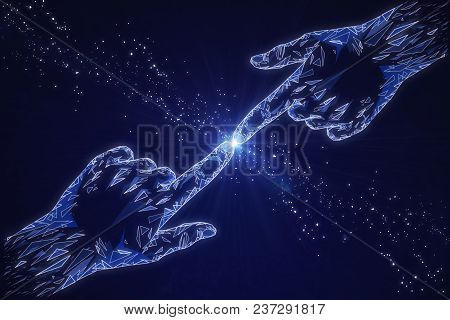 Abstract Pointing Polygonal Hands On Blue Background. Cyberspace And Artificial Intelligence Concept