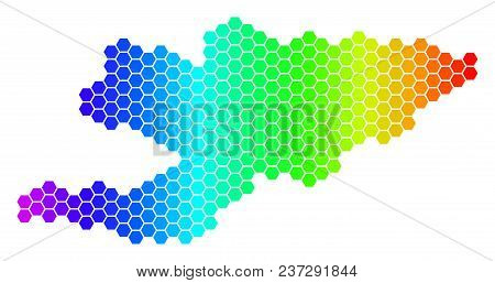 Hexagon Spectrum Kyrgyzstan Map. Vector Geographic Map In Bright Colors On A White Background. Spect