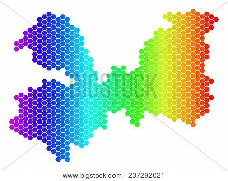 Hexagon Spectrum Leningrad Oblast Map. Vector Geographic Map In Bright Colors On A White Background.