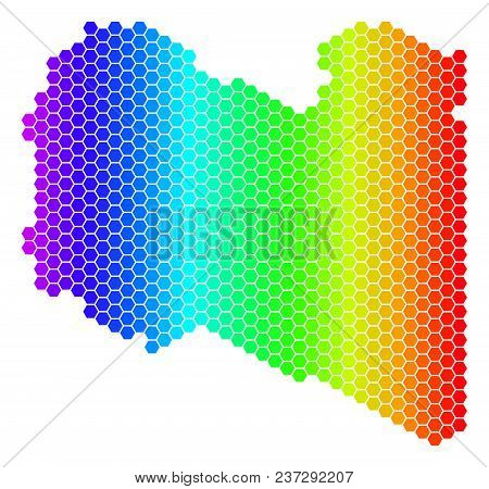Hexagon Spectrum Libya Map. Vector Geographic Map In Bright Colors On A White Background. Spectrum H