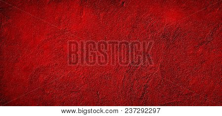 Beautiful Abstract Grunge Decorative Red Background. Wide Angle Rough Stylized Stucco Wall Texture.