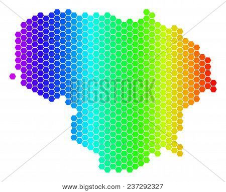 Hexagon Spectrum Lithuania Map. Vector Geographic Map In Bright Colors On A White Background. Spectr