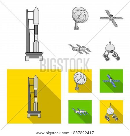 Radio Radar, Docking In Space Spacecraft, Lunokhod. Space Technology Set Collection Icons In Monochr