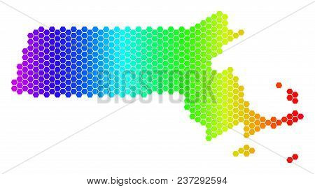 Hexagon Spectrum Massachusetts State Map. Vector Geographic Map In Bright Colors On A White Backgrou