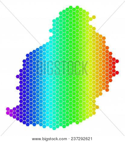 Hexagon Spectrum Mauritius Island Map. Vector Geographic Map In Bright Colors On A White Background.